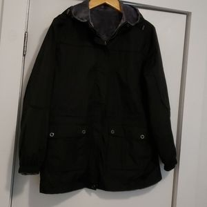 Free Country Black & Gray Hooded Reversible Coat